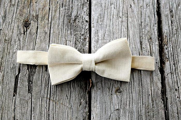 eb40ecd7a86a3 Amazon.com: Adjustable Cream Irish Linen Bow Tie: Handmade