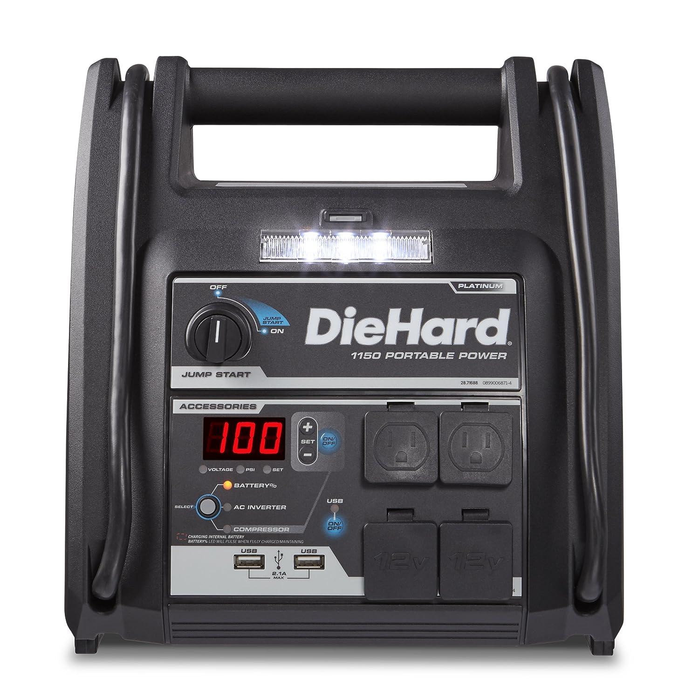 Amazon.com: DieHard 2871688 Platinum Portable 1150 Peak Amp 12 Volt Jump  Starter & Power Source with 2-USB 2-12V 2-110V Ports & 100 PSI Auto Shutoff  Air ...