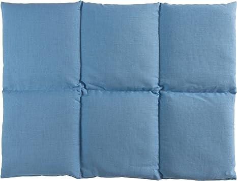 Cuscini Riscaldabili.Cuscino Termico Con Semi Di Lino 40x30 6 Compartimenti Azzuro