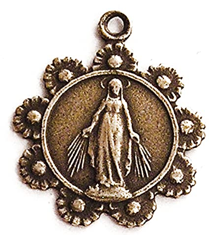 Miraculous Mary with Daisy Wreath Medal - True Bronze Religious Replica -  Vintage Catholic Pendant - Includes Medal and Chain Necklace with Gift Box