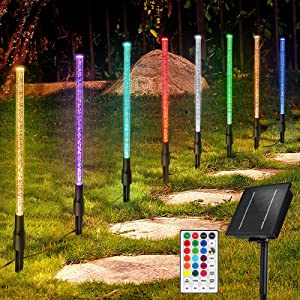 Solar Garden Lights Outdoor Decorative, 8 Pack Solar Pathway Lights, 16 Colors Changing Landscape Lighting Waterproof Yard Lights with Remote Timer for Walkway Driveway Lawn Patio Décor