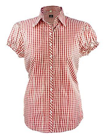 Damen Trachtenbluse Bluse Trachtenmode Rot Karo Bluse Tracht rot karo