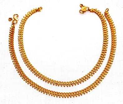 450670e50 Deccani Handicrafts Panchaloha Metal Gold Anklets Curb Chain With Beads For  Women