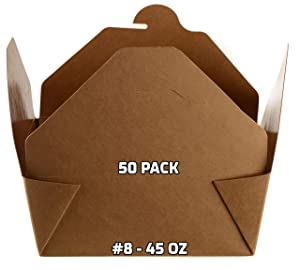 [50 PACK] Take Out Food Containers 45 oz Kraft Brown Paper Take Out Boxes Microwaveable Leak and Grease Resistant Food Containers - To Go Containers for Restaurant, Catering, Food Truck - Recyclable Lunch Box #8 by EcoQuality
