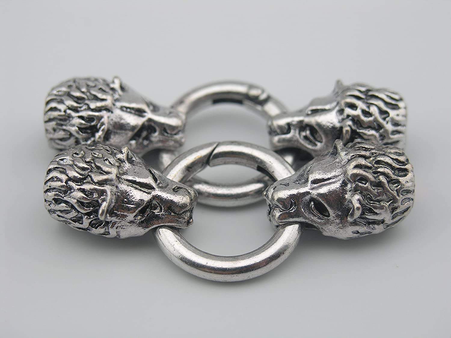 KONMAY 3 Sets Dia. 9.0mm Antique Silver Wolf Head Leather Bracelet End Cap with Spring Clasp