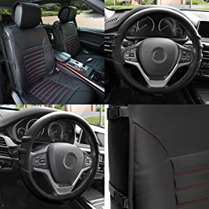 FH Group PU206102 Multifunctional Quilted Leather Seat Cushions (Black) Front Set with Gift – Universal Fit for Cars Trucks & SUVs
