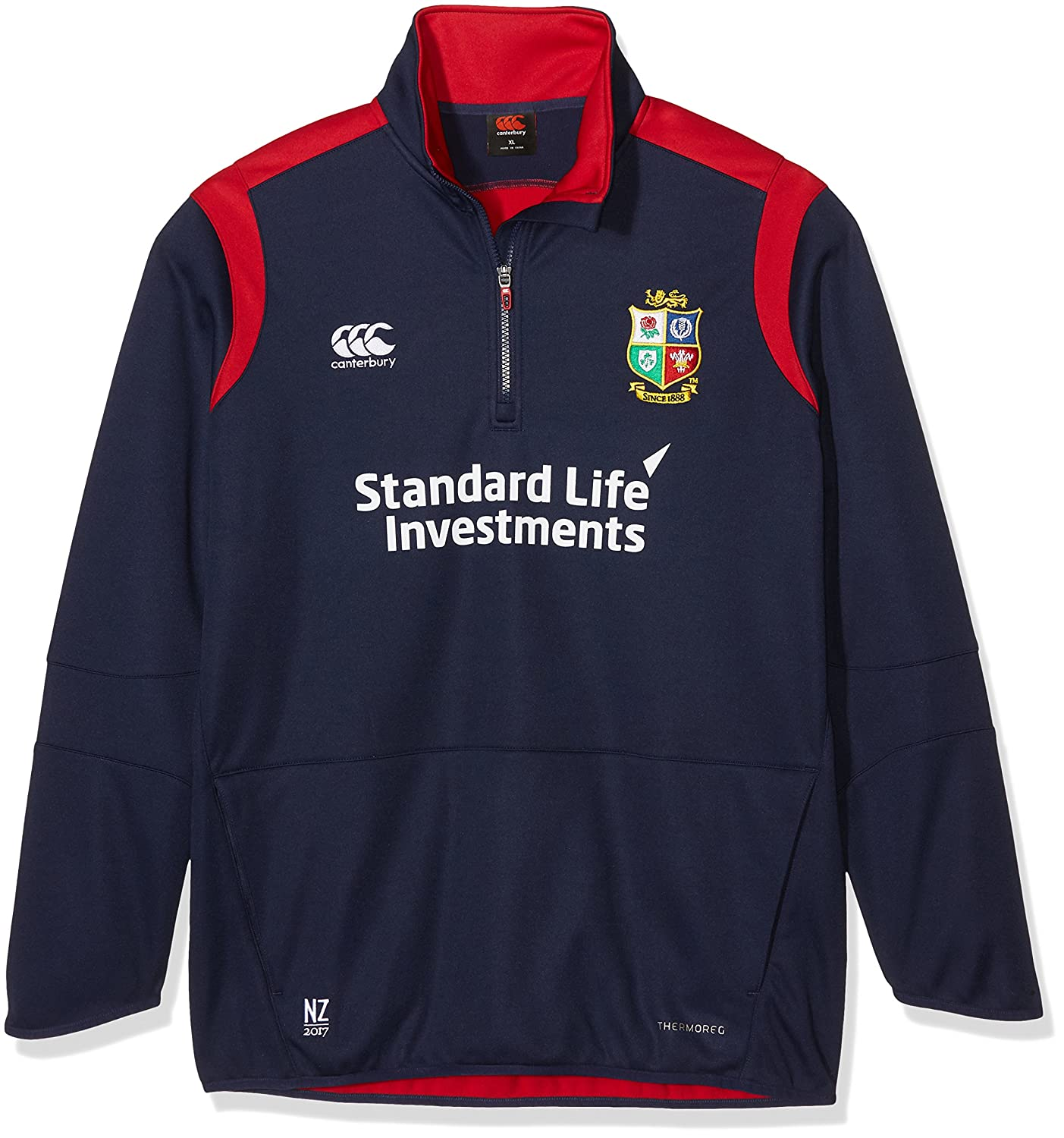 British And Irish Lions Canterburry Herren Thermoreg-Zipper, mit kurzem Reißverschluss, Fleece, Design Canterbury