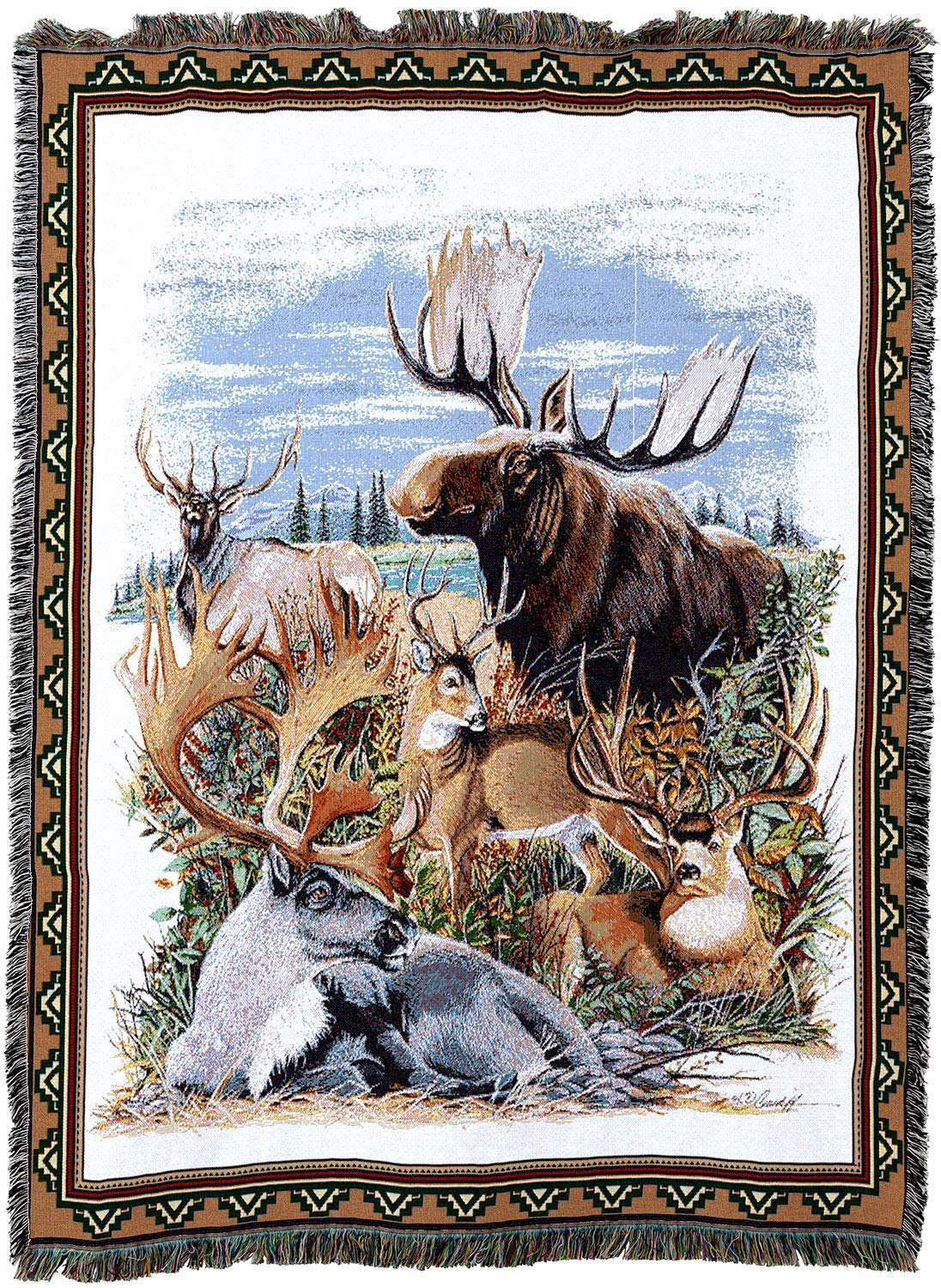 Antlered動物Throw Blanket B00PZ855ZM