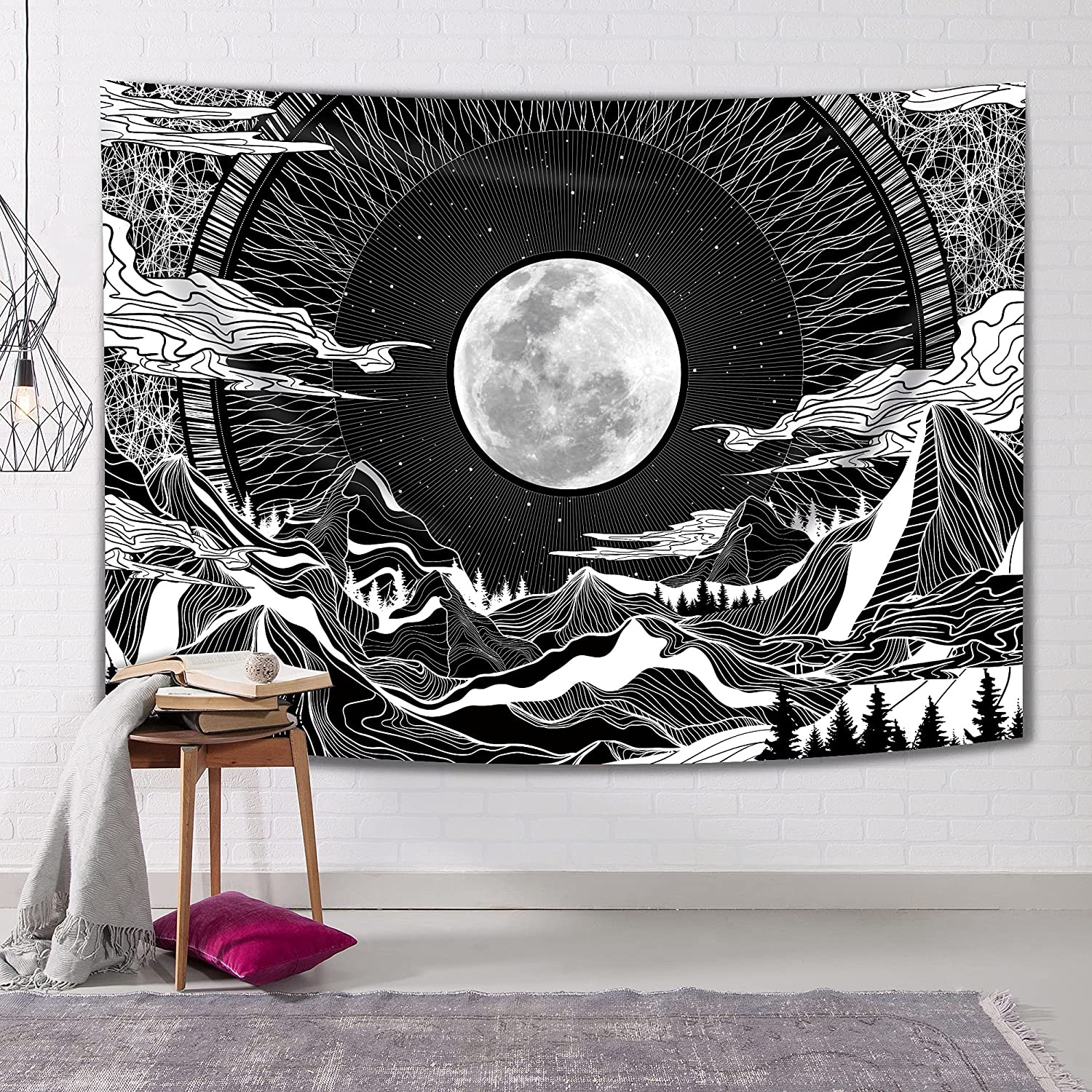 Hexagram Moon Mountain Tapestry Black and White Tapestry for Bedroom, Psychedelic Clouds Tree Aesthetic Tapestries Wall Hanging, Trippy Star Night Sky Wall Tapestry for Room Dorm Decor 51x59 Inches