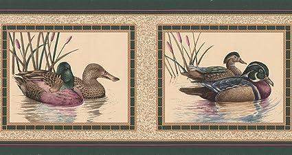 Colorful Ducks Pictures On Beige Wall Bathroom Wallpaper Border Retro Design Roll 15 X