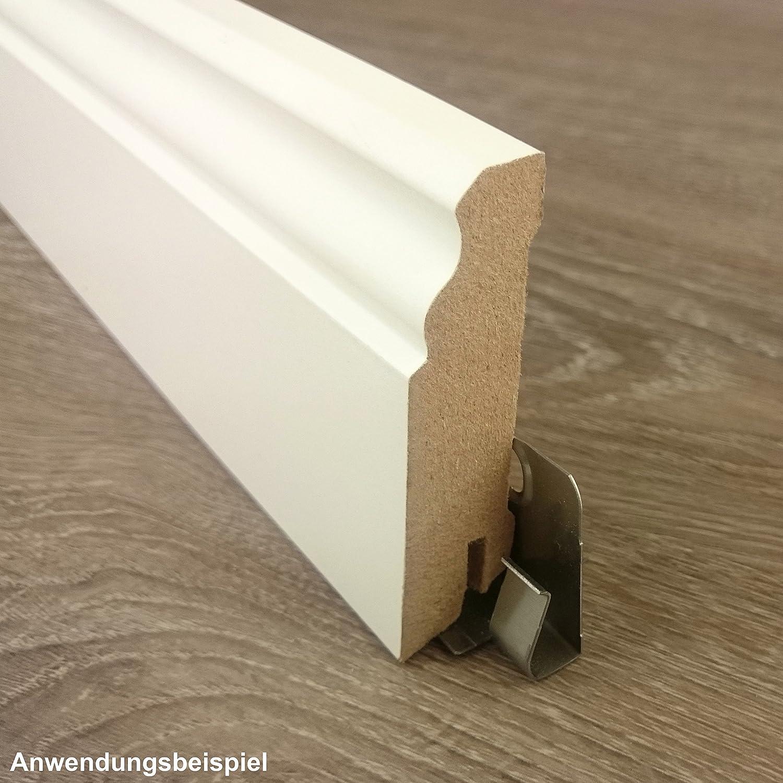 Classic Profil abgerundete Form 18x58 mm ✓Kabelkanal ✓weisse Oberfl/äche MDF Tr/ägermaterial TRECOR/® Sockelleiste wei/ß 58 mm hoch L/änge 2.5m