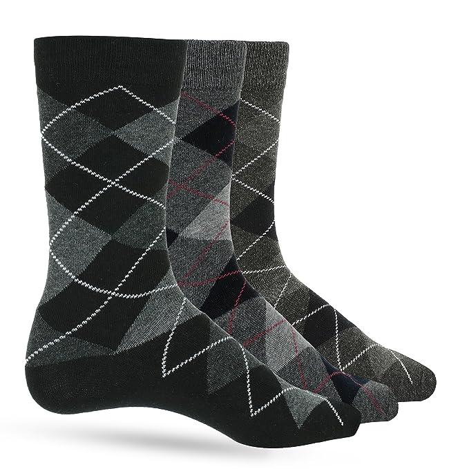 129d0a71f37a 3 Pack of Premium Cotton Argyle Mens Black Dress Socks For Men - Colorful  Fashion -