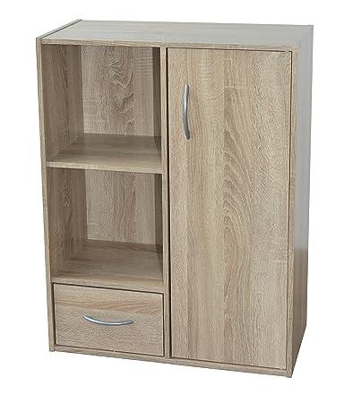 Alsapan Compo 09 Mobiletto in legno con strato superficiale in melammina,  con un\'anta, un cassetto e due ripiani a forma di cubo, 80 x 61,5 x 29,5 cm