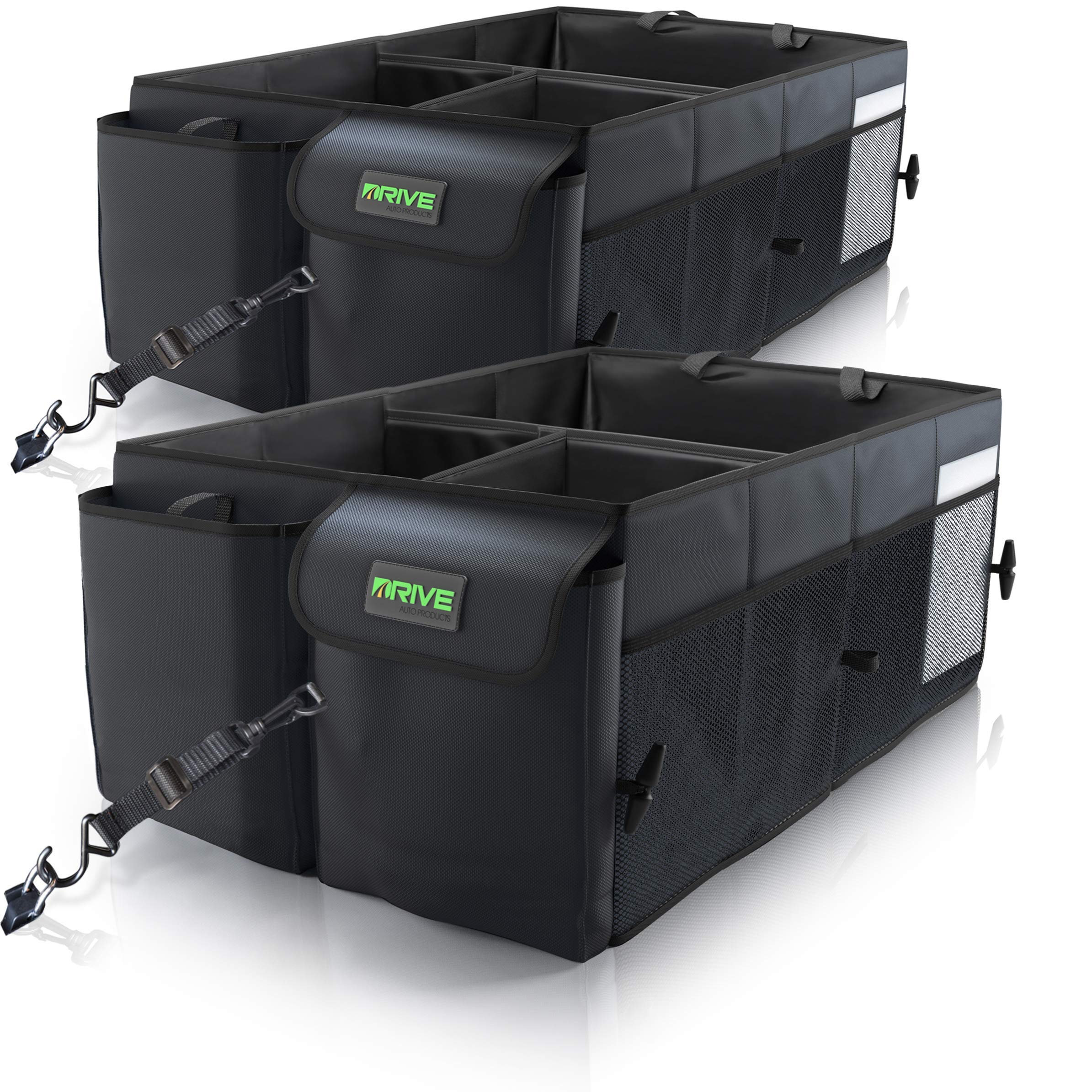 i BKGOO Car Trunk Organizer,Heavy Duty Collapsible Car Cube Storage Boxes with Lid,Foldable Cover,Car Cargo Trunk Storage Organizer Black