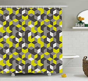 Grey And Yellow Shower Curtain By Ambesonne 3D Print Inspired Modern Geometrical Boxes Cubes Image