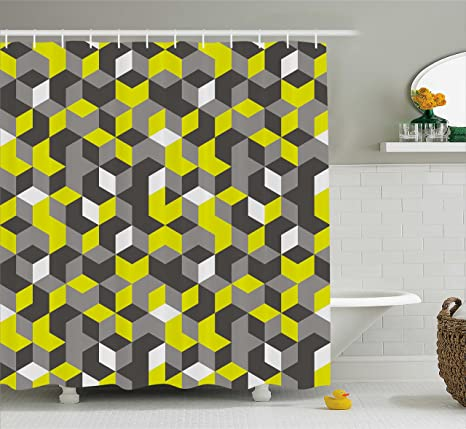 Ambesonne Grey And Yellow Shower Curtain 3D Print Inspired Modern Geometrical Boxes Cubes Image