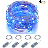 Micro LED String Lights Battery Powered ITART Set of 4 Blue Mini String Light 20 LEDs / 6ft (2m) Ultra Thin Silver Wire Rope Lights for Christmas Trees Wedding Parties Bedroom