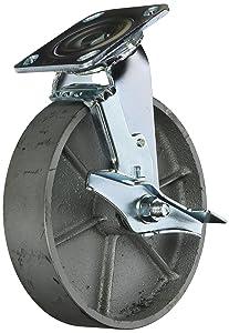 Service Caster SCC-30CS820-SSR-TLB Heavy Duty Swivel Caster with Brake, Semi Steel Cast Iron Wheel, 8