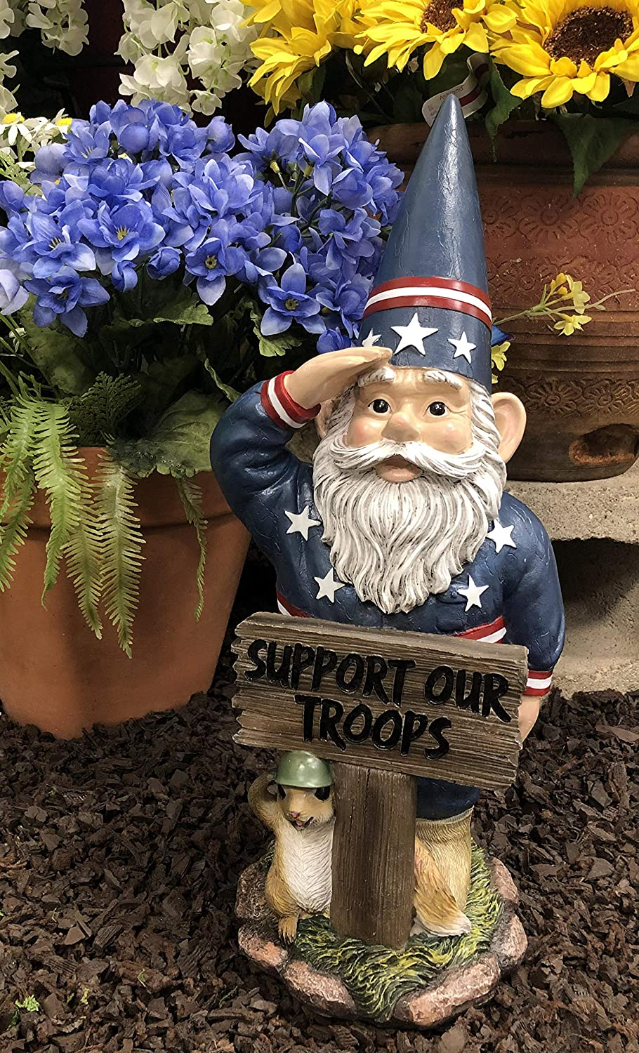 """Ebros Gift 17"""" Tall Americana USA Patriotic Gnome with Pet Squirrel in Military Salute Statue with Support Our Troops Sign American Flag Uniform Druid Dwarf Home Garden Patio Lawn Figurine"""