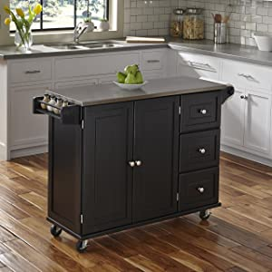 Home StylesLiberty Kitchen Cart with Stainless Steel Top, Black