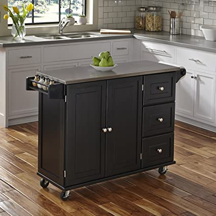 home styles 4513 95 liberty kitchen cart with stainless steel top black - Black Kitchen Island