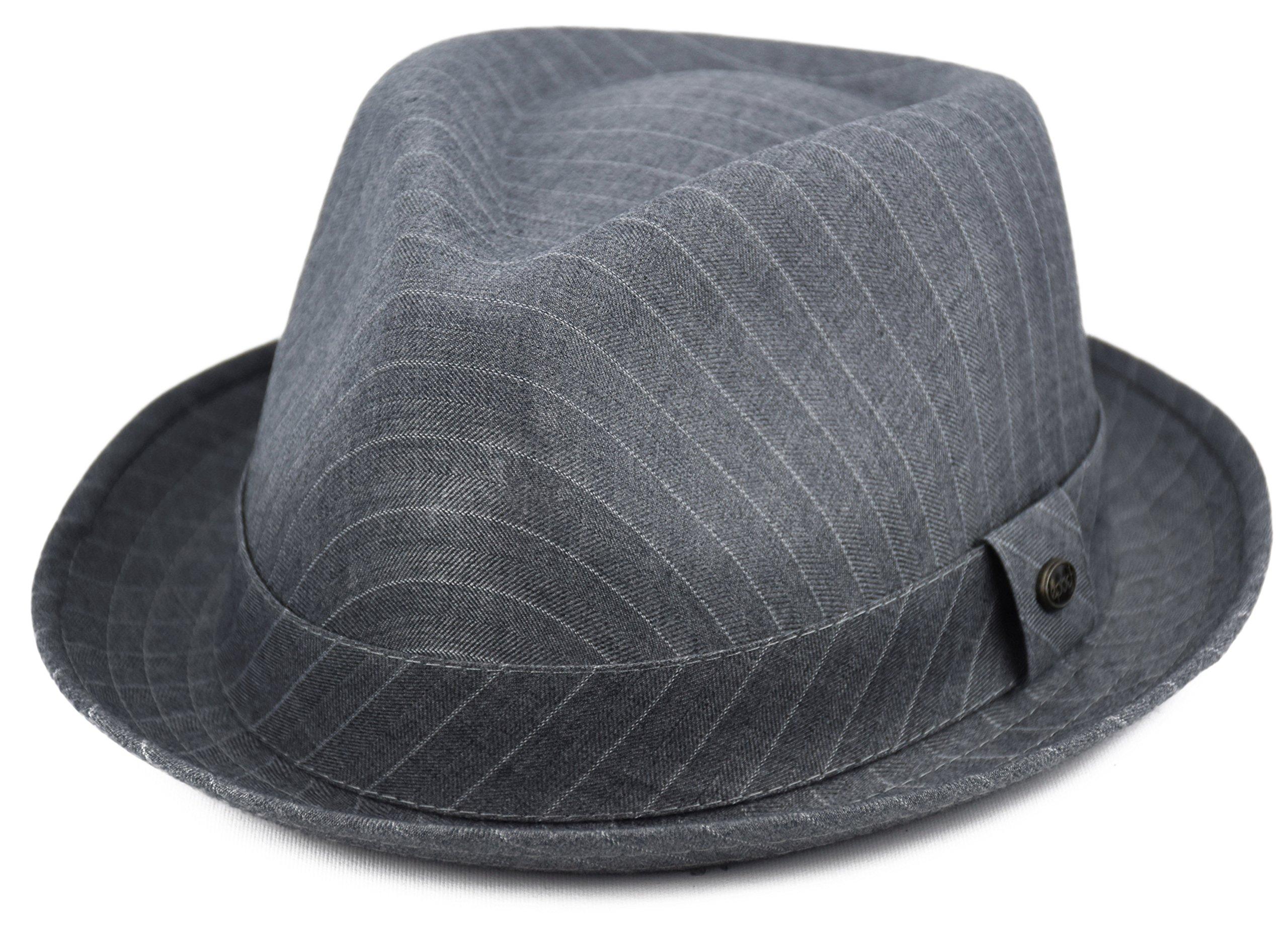 Mens Summer Fedora Hat, Porkpie Stingy Brim, Light Weight Dress Hat (Pinstripe-Gray, L/XL)