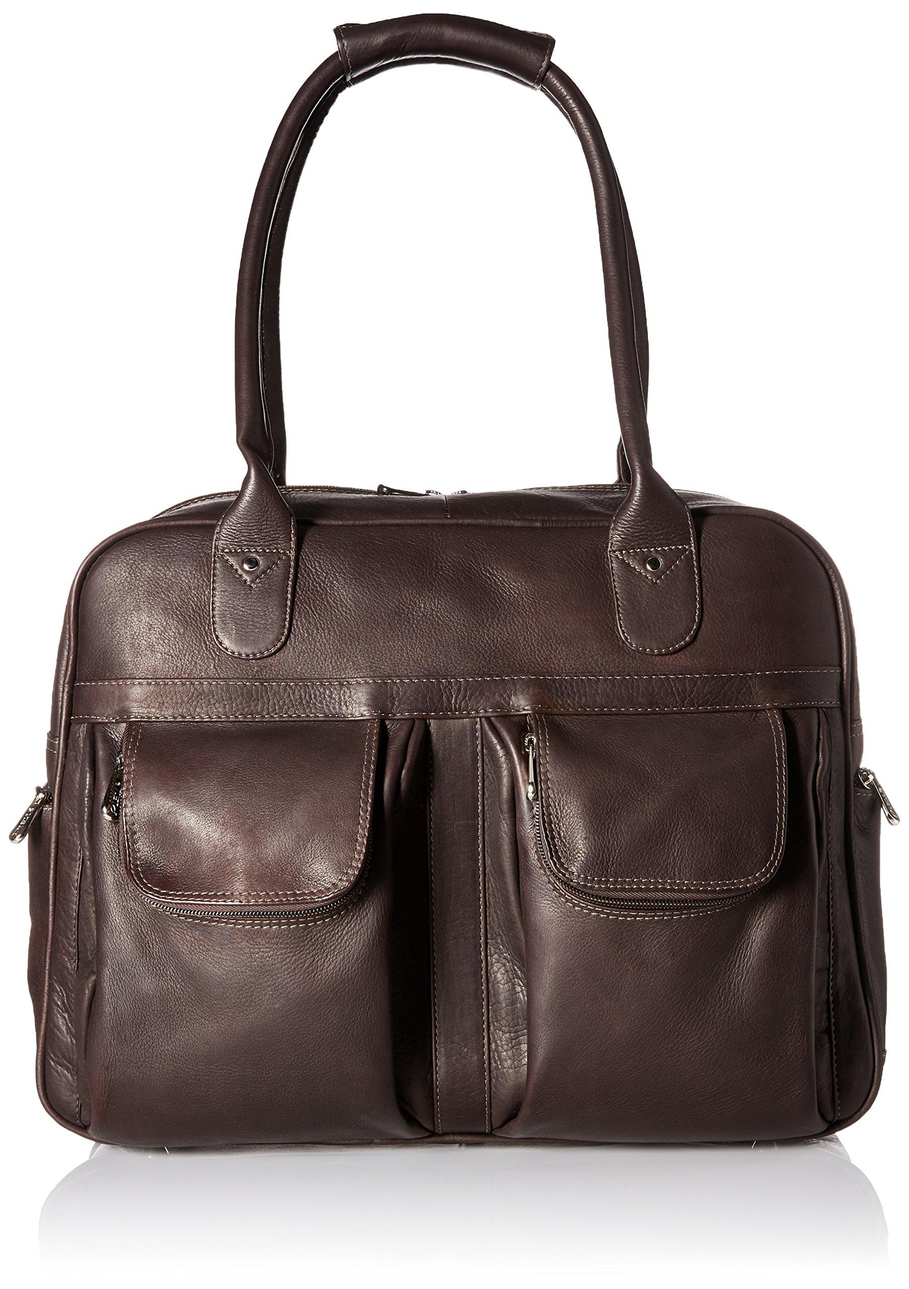Piel Leather Multi-Pocket Satchel, Chocolate, One Size