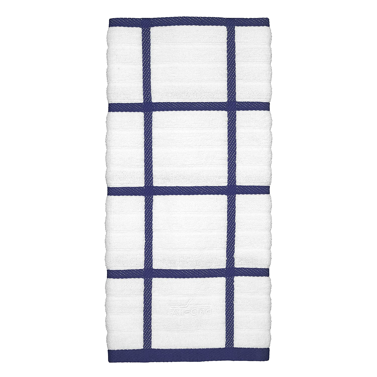 All-Clad Textiles 100-Percent Combed Terry Loop Cotton Kitchen Towel, Oversized, Highly Absorbent and Anti-Microbial, 17-inch by 30-inch, Checked, Colbalt Blue