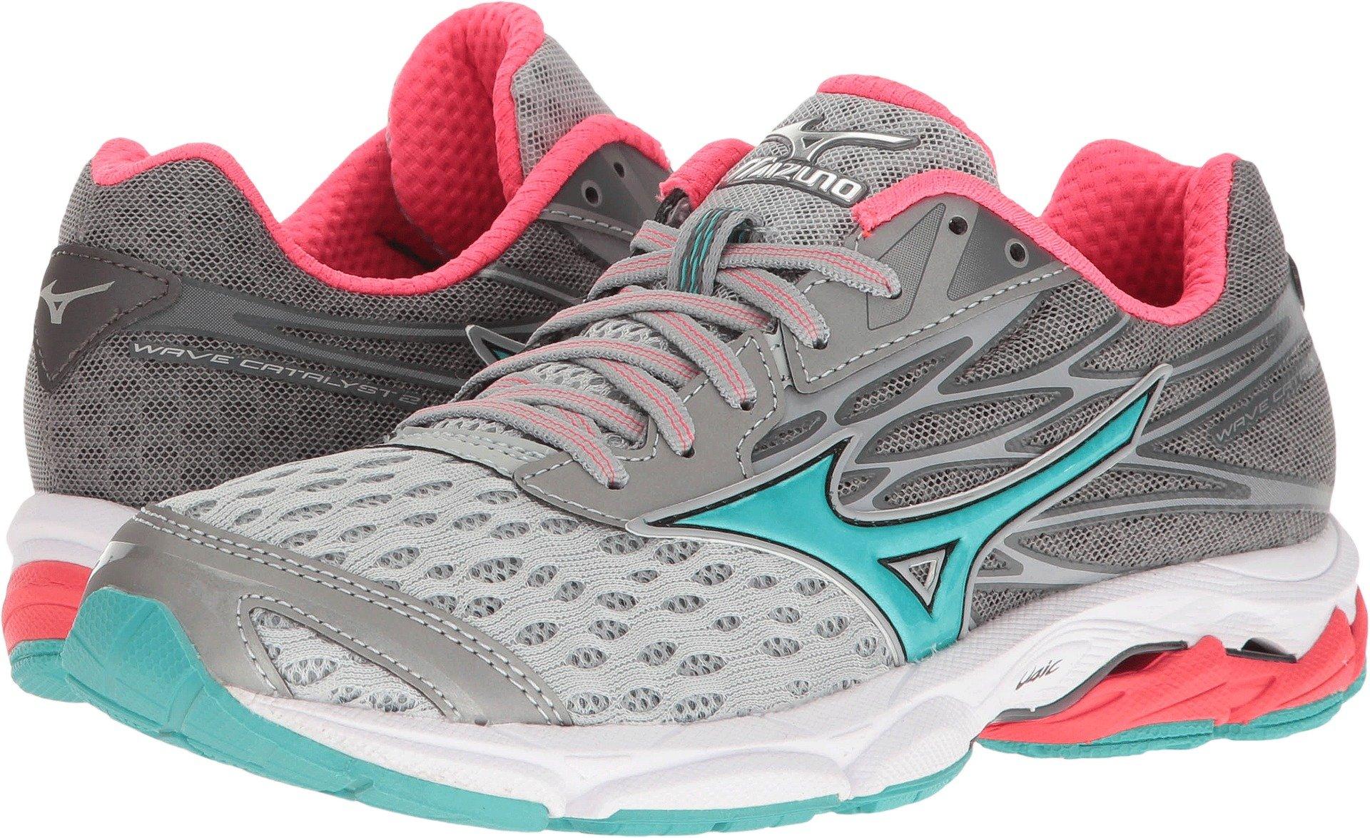 Mizuno Women's Wave Catalyst 2 Running Shoe, Grey/Mint, 8 B US