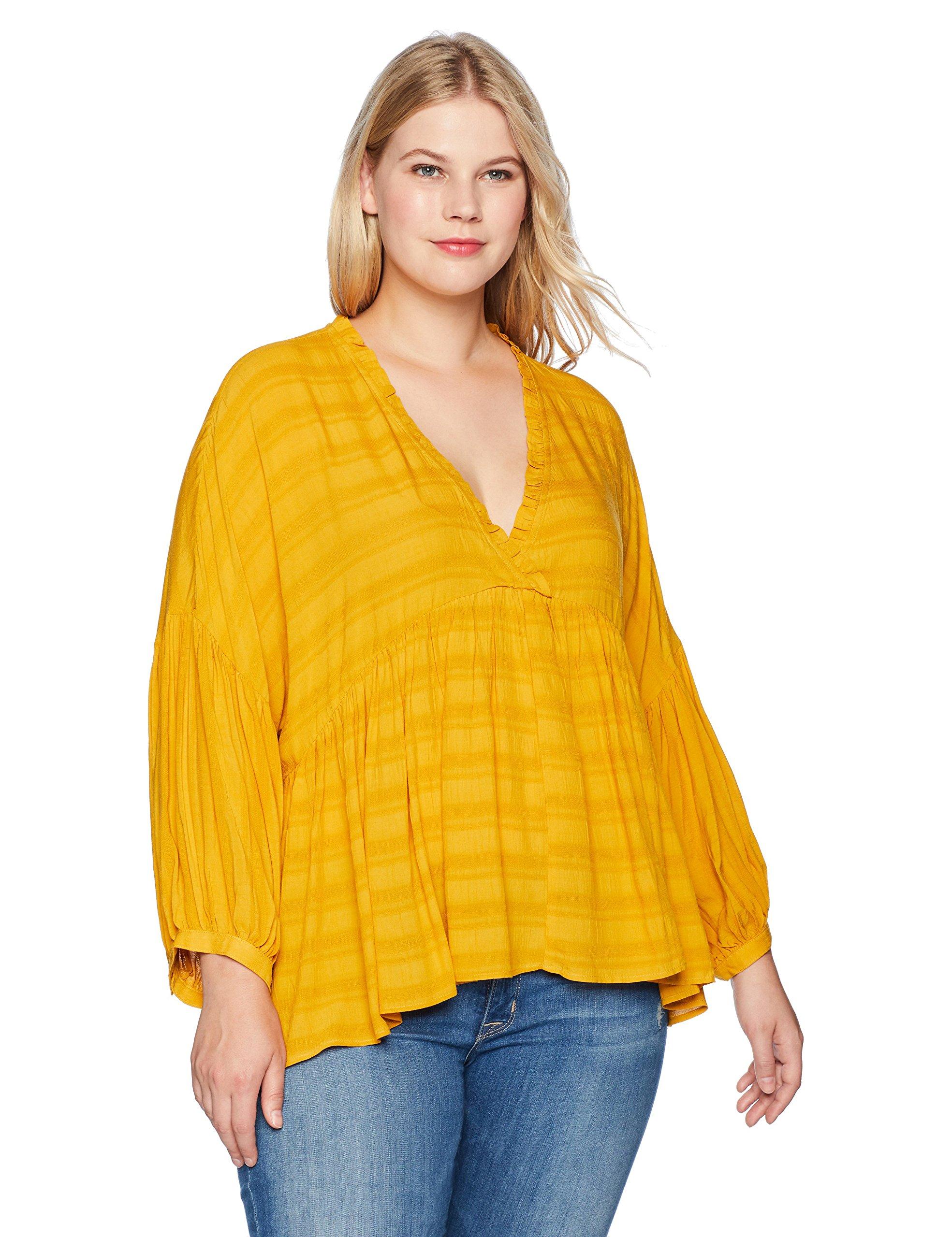 Lucky Brand Women's Plus Size Romantic Peasant Ruffle Top, Golden Spice, 1X