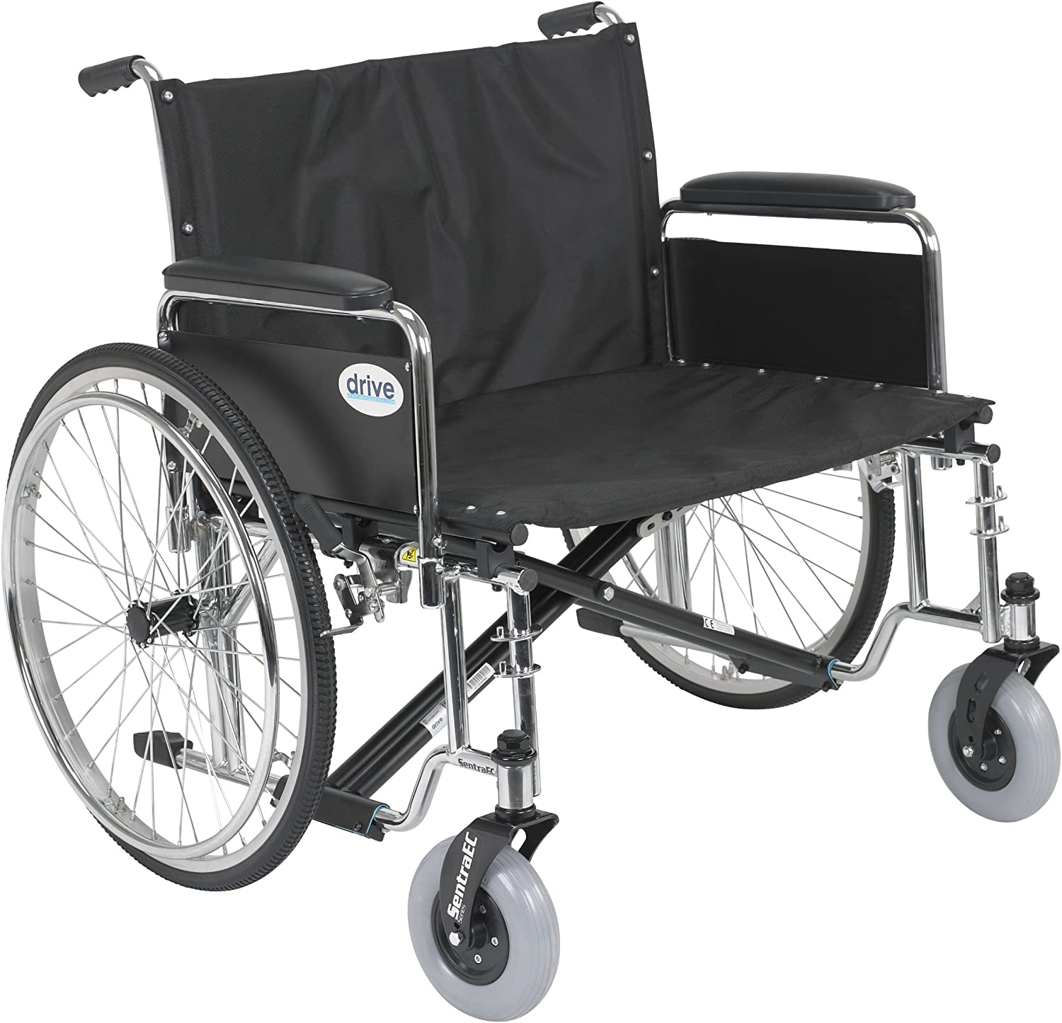 "Drive Medical Sentra EC Heavy Duty Extra Wide Wheelchair with Various Arm Styles Arms, Black, 30"" 91g7iosoCILSL1500_"