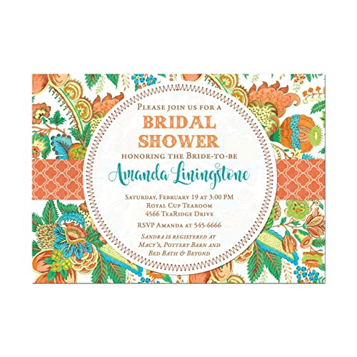 tropical floral bridal shower invitation bold floral bridal or wedding shower in orange green and