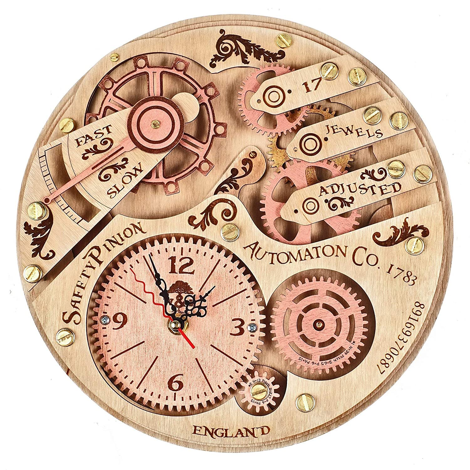 Automaton 1783 HANDCRAFTED moving gears wooden wall clock by WOODANDROOT steampunk wall clock, unique, personalized gifts, anniversary gift, large wall clock, home decor