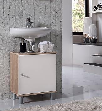 VCM Bad Unterschrank Waschtisch Waschbecken Badschrank Regal Wento 55x45x32  Badezimmer Schrank Eiche-Sägerau/Weiss