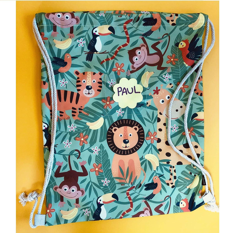 jungle sac de sport maternelle HECKBO/® sac de gym pour enfants gar/çons /& filles avec fen/être pour photos et images sport 40x32cm sac pour jouet sac voyage lavable en machine sac /à dos