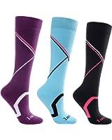 Laulax 3 Pairs Ladies Long Hose Cashmere-Like Ski Socks, Size UK 3 - 7 / Europe 36 - 40, Gift Box, Purple, Blue, Black