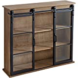 """Kate and Laurel Barnhardt Decorative Wooden Wall Cabinet with Two Sliding Glass Doors, 30"""" x 28"""", Rustic Brown, Barndoor Mode"""