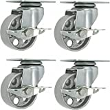 "4 All Steel Swivel Plate Caster Wheels w Brake Lock Heavy Duty High-gauge Steel 1500lb total capacity Gray (3"" With Brake)"