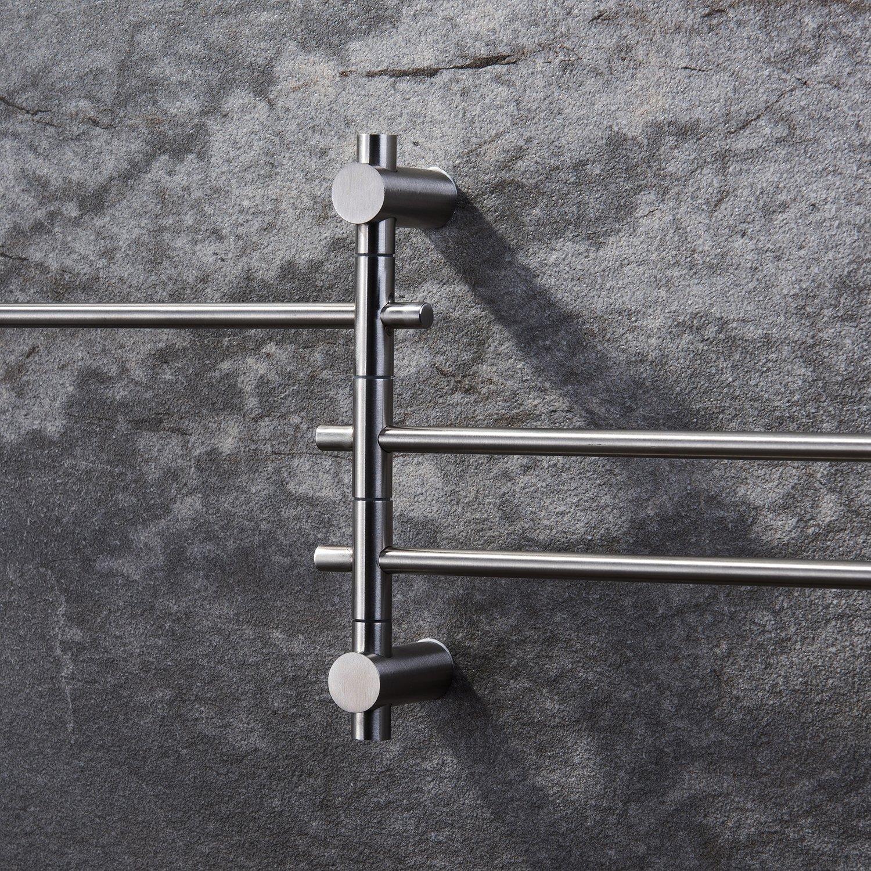 Handtuchhalter Schwenkbar Handtuchstange Wandmontage Badezimmer Handtuchhalter mit 3 Armen Edelstahl Gebürstet 180° drehung - Ruicer