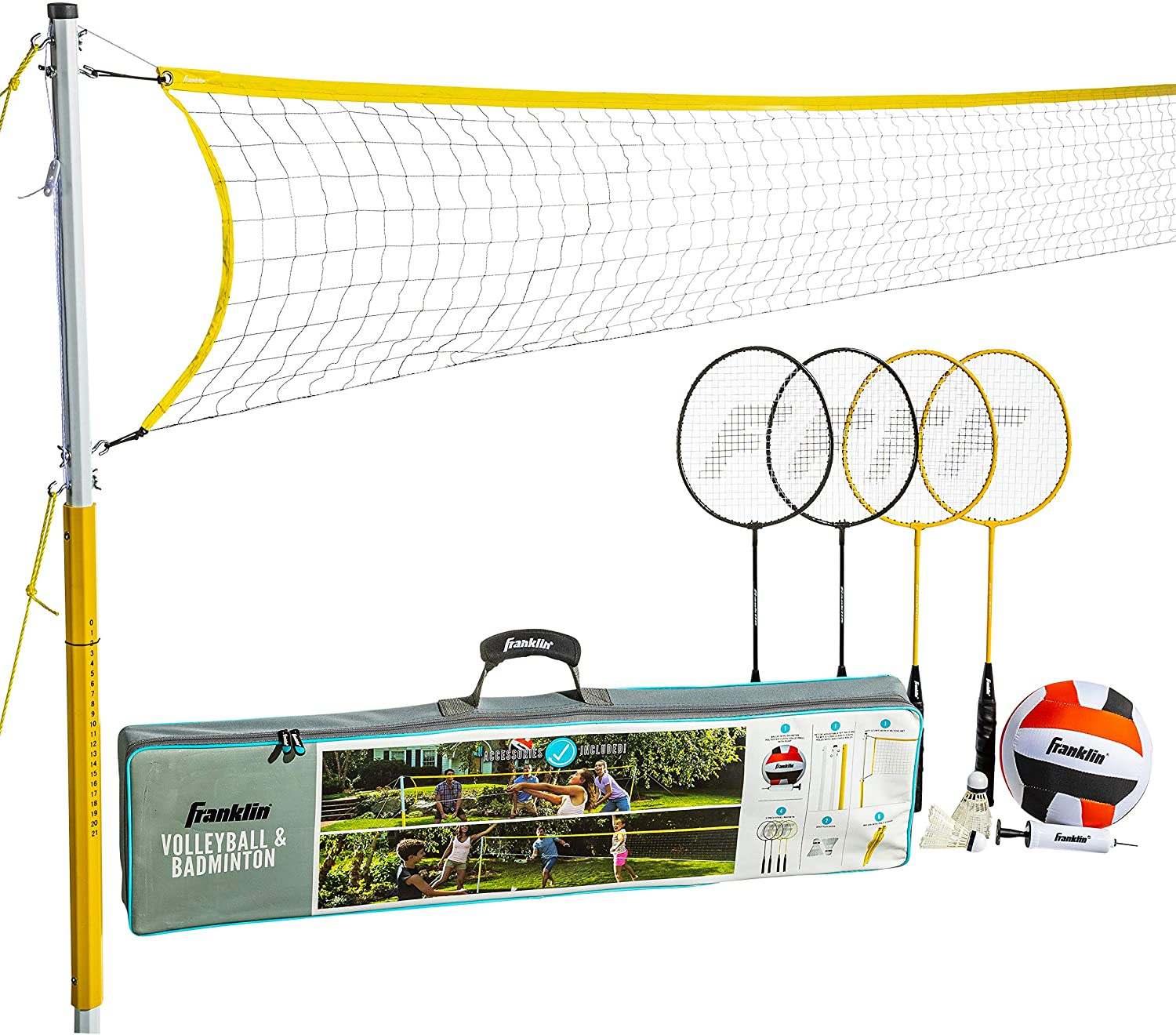 Franklin Sports 50611 Volleyball And Badminton Family Set Volleyball Pump Badminton Rackets Birdies Net And Adjustable Polls Beach Or Backyard Setup Sports Outdoors Amazon Canada