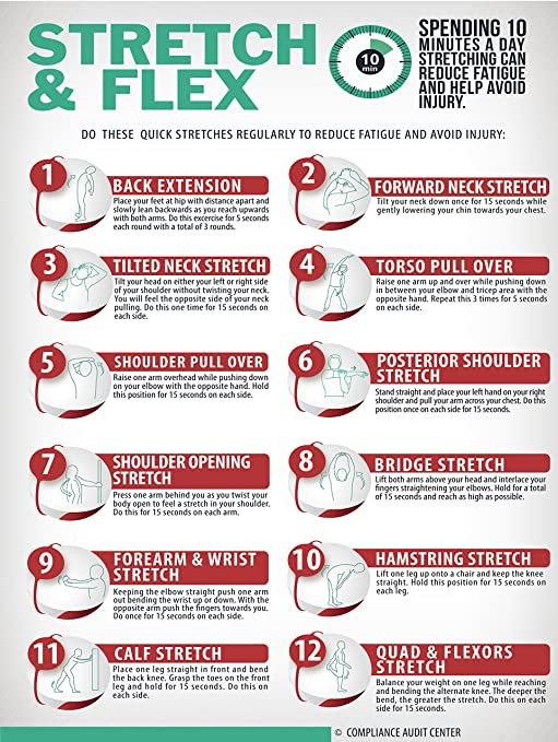 photo about Stretching Charts Free Printable called : Extend and Flex 10 Second Physical fitness Poster for