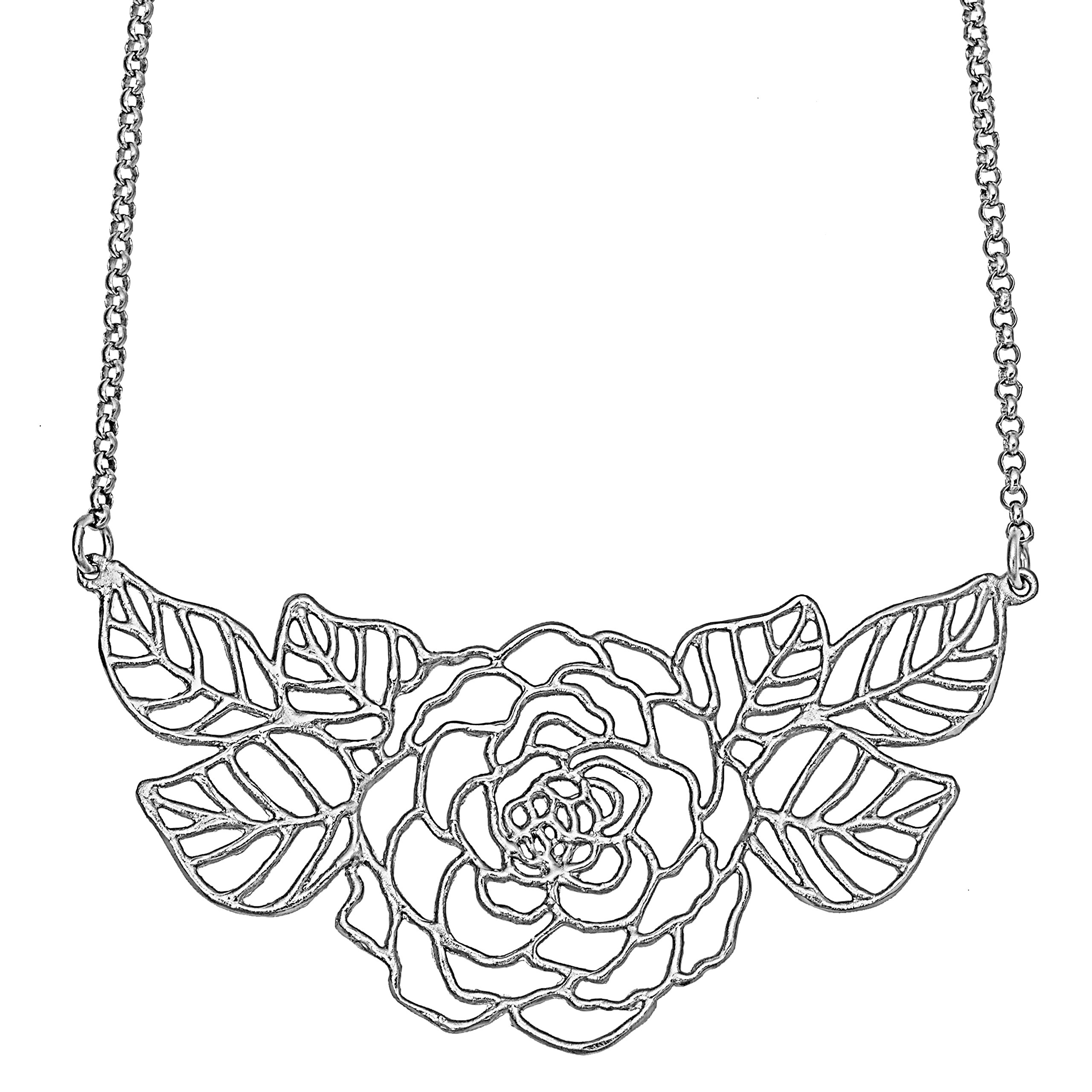 Rose Collar Necklace with Leaves (Silver Plated) by Mercedes Shaffer