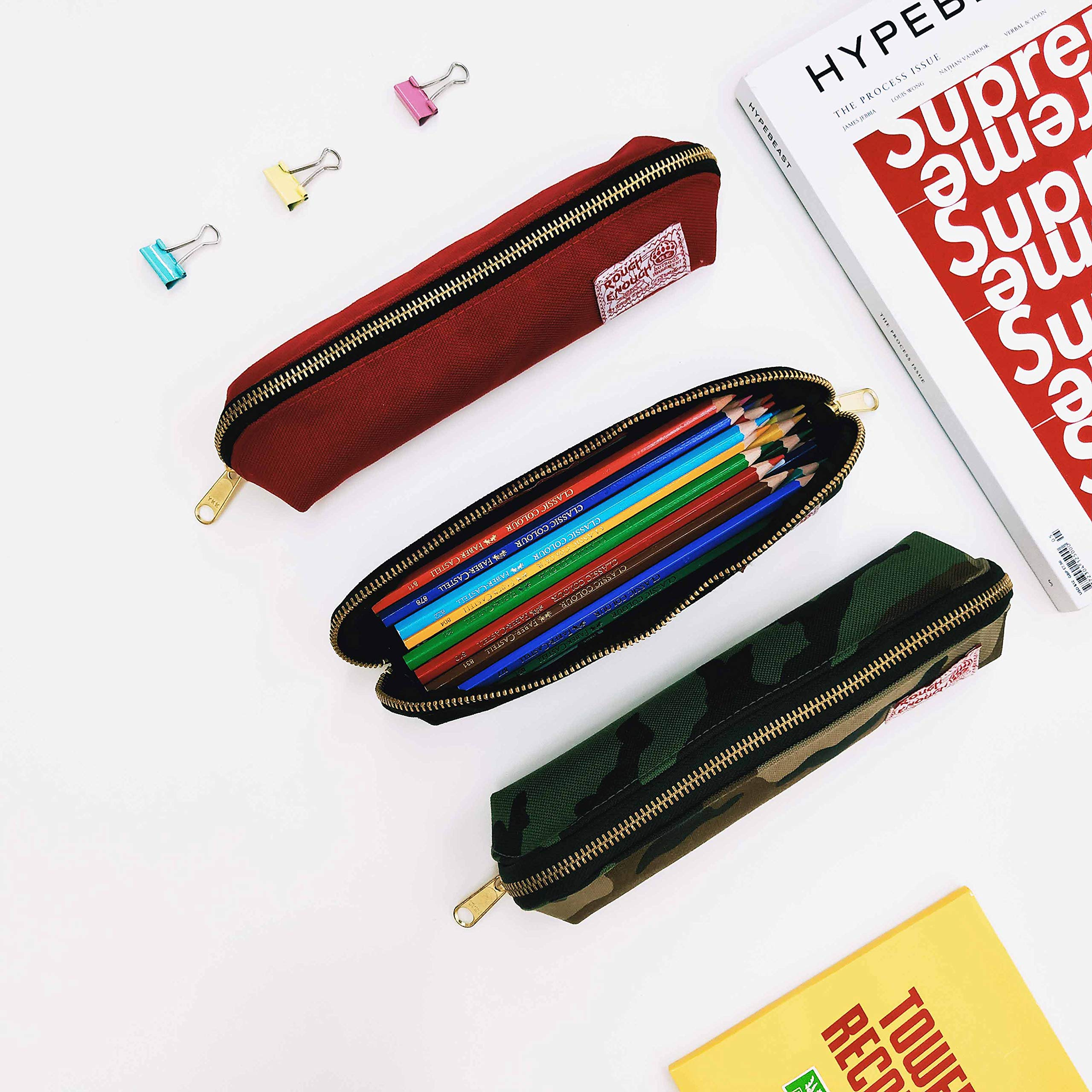 Rough Enough Multi-purpose CORDURA Polyester Long Slim Classic Portable Pencil Case Pouch Holder Organizer with YKK Gold Zipper for Stationary Cosmetics Accessories Kids Boys Students at Schools Black by ROUGH ENOUGH (Image #7)