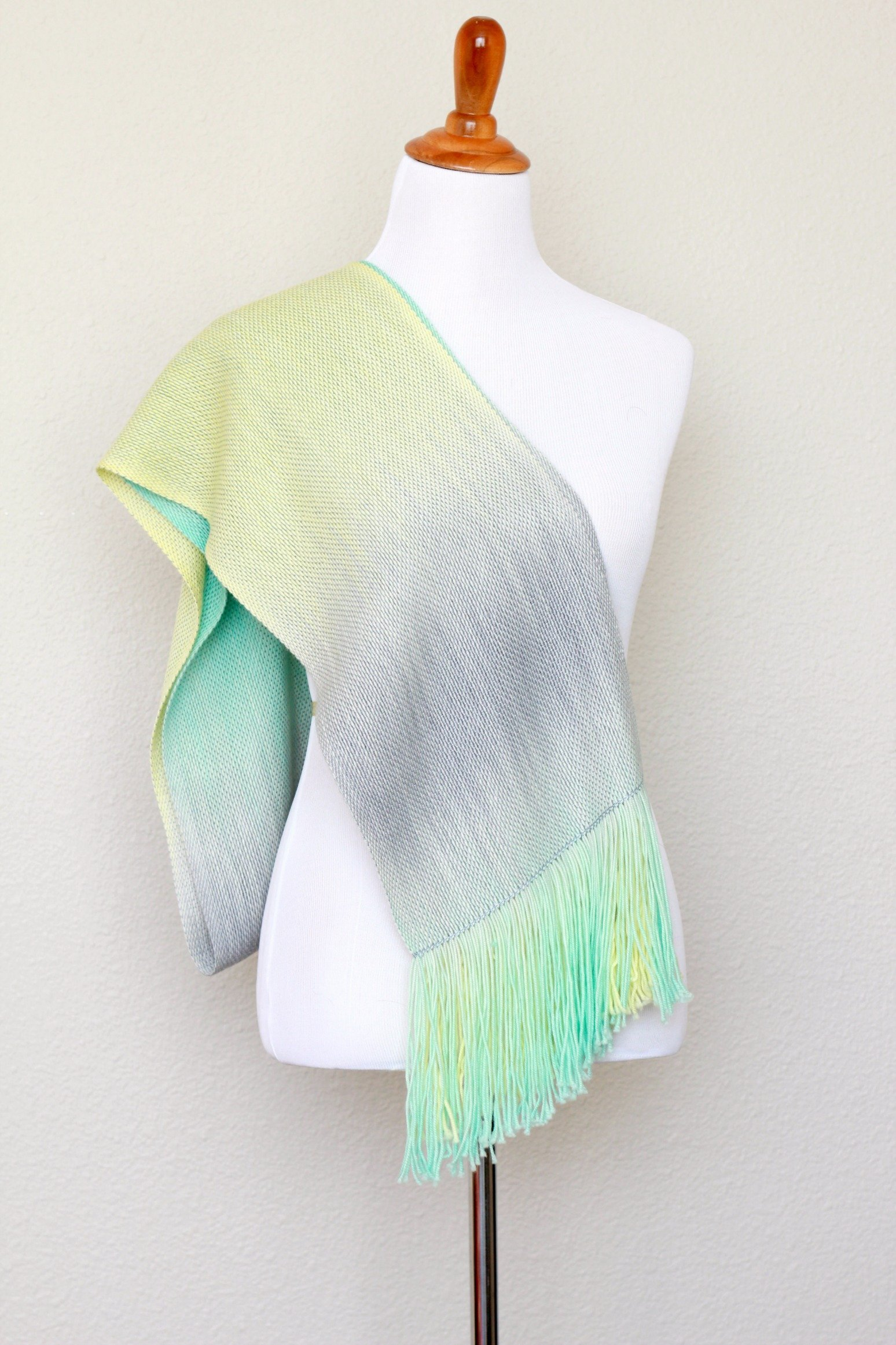 Woven stole, pashmina wrap, yellow mint green, long scarf with fringe, gift for her