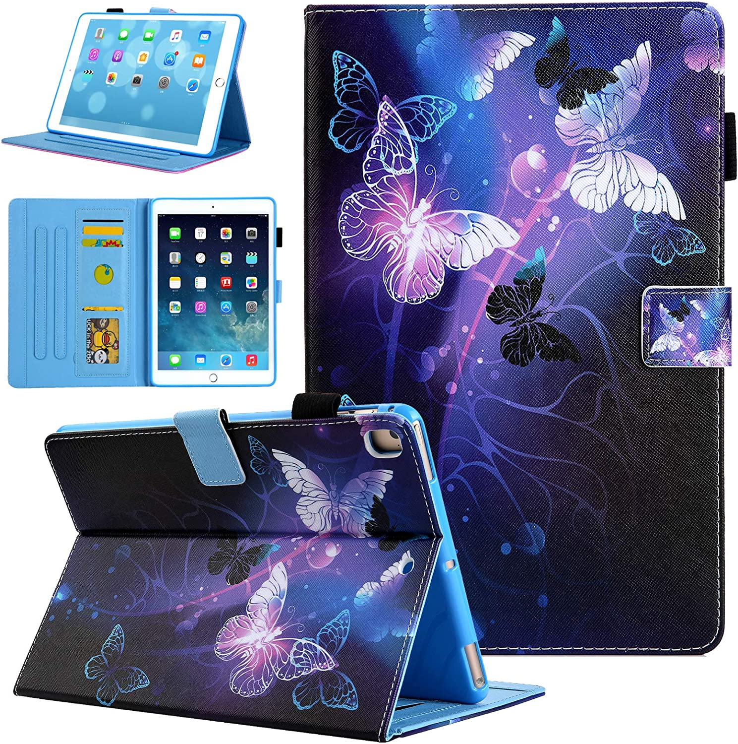 iPad 10.2 Case 2019 2020, iPad 7th / 8th Generation Case, Alugs Multi-Angle Protective PU Leather Folio Cover with Auto Wake/Sleep for iPad 7th 8th Generation 10.2 Inch, Purple Butterfly