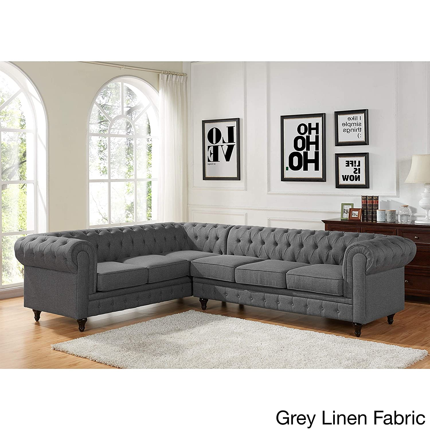 Amazon com us pride furniture sophia modern style tufted rolled arm right facing chaise sectional sofa grey kitchen dining