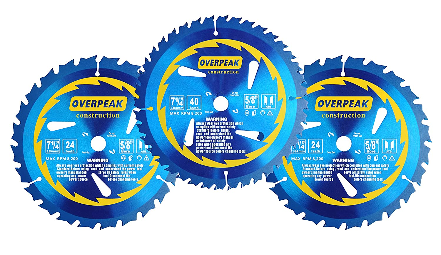 Overpeak 7 14 inch fine finishing circular saw blade 2 x 24 tooth overpeak 7 14 inch fine finishing circular saw blade 2 x 24 tooth 1x 40 tooth atb table saw blades combo 3 pack amazon greentooth Images