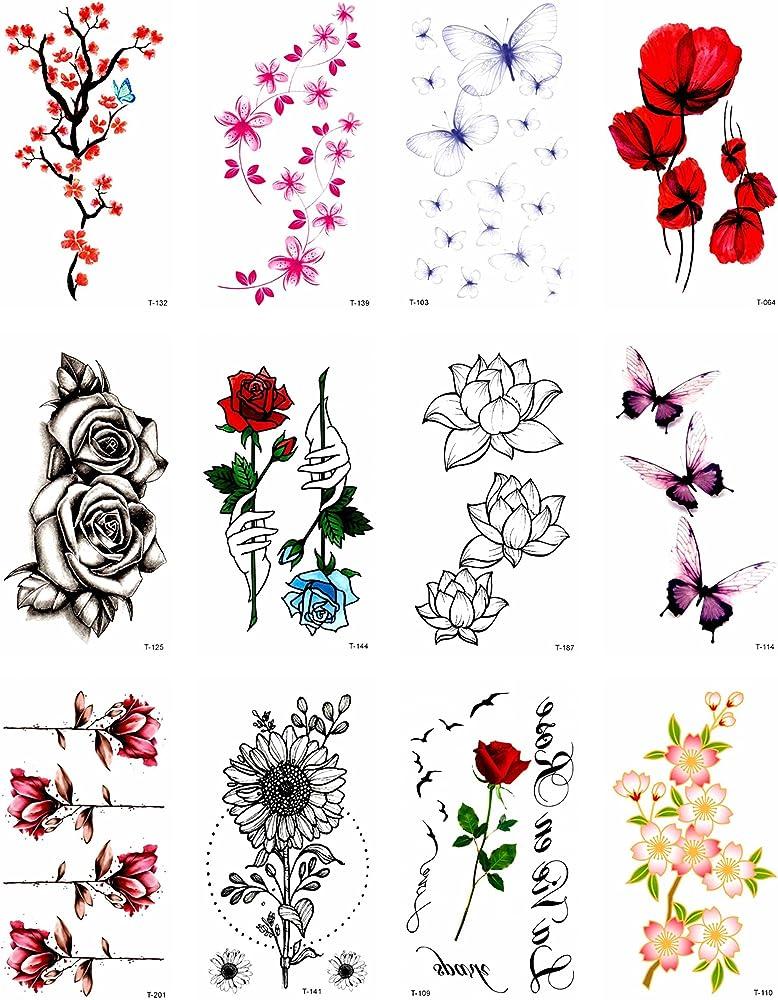 12 hojas de flores de amapola, diseño de mariposas de flor de ...