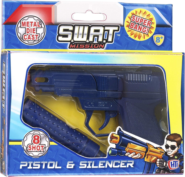 1x Die Cast 8 Shot Metal Cap Gun 160-3840 CAPS with Silencer Swat Mission