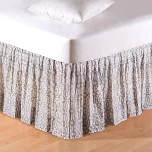 C&F Home Folly Lattice Queen Bed Skirt Drop Length: 18 inches Queen Bed Skirt Multi